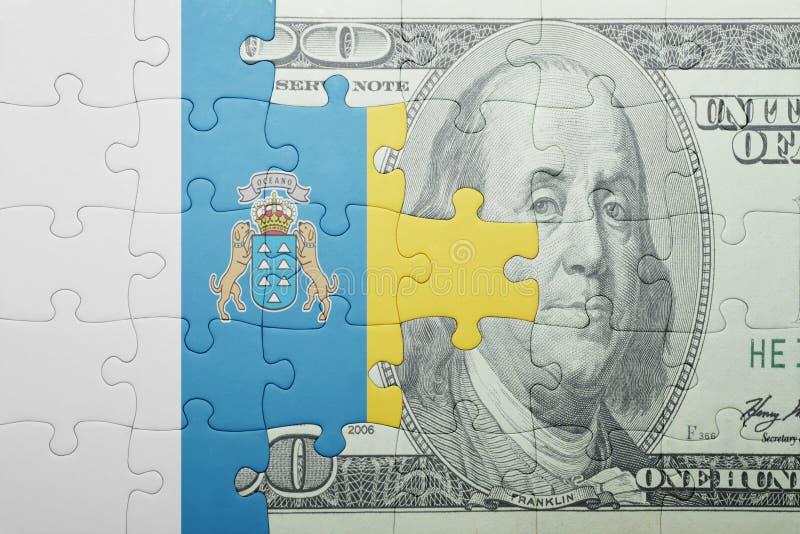 Confunda com a bandeira nacional das Ilhas Canárias e da cédula do dólar fotos de stock royalty free