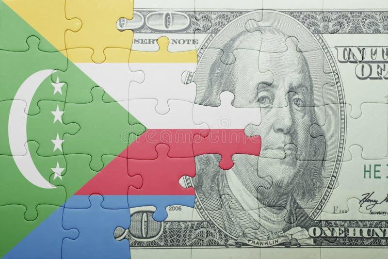 Confunda com a bandeira nacional de Cômoros e de cédula do dólar imagem de stock royalty free