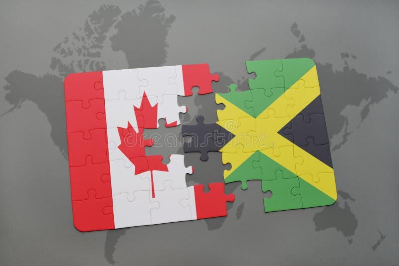 confunda com a bandeira nacional de Canadá e de jamaica em um fundo do mapa do mundo ilustração stock