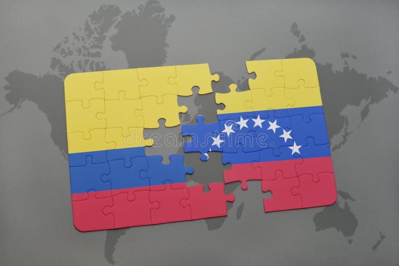 confunda com a bandeira nacional de Colômbia e de venezuela em um fundo do mapa do mundo ilustração royalty free
