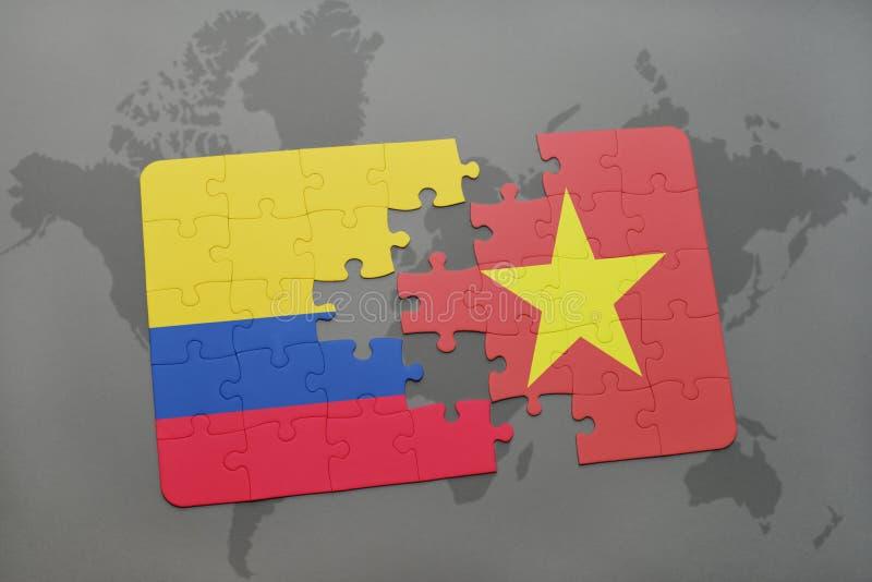 confunda com a bandeira nacional de Colômbia e de Vietnam em um mapa do mundo ilustração royalty free