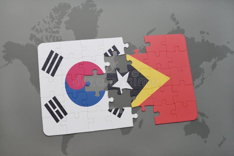 confunda com a bandeira nacional de Coreia do Sul e de Timor-Leste em um fundo do mapa do mundo ilustração do vetor