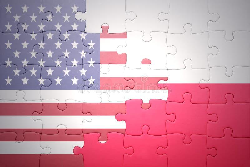 Confunda com a bandeira nacional de Estados Unidos da América e de poland fotos de stock royalty free