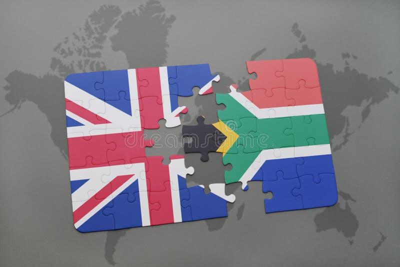 confunda com a bandeira nacional de Grâ Bretanha e de África do Sul em um fundo do mapa do mundo ilustração royalty free