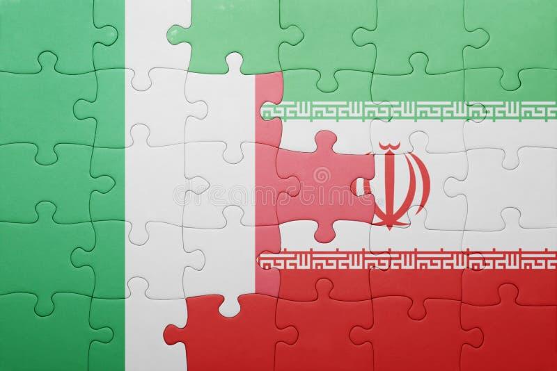 confunda com a bandeira nacional de Italia e de Irã foto de stock