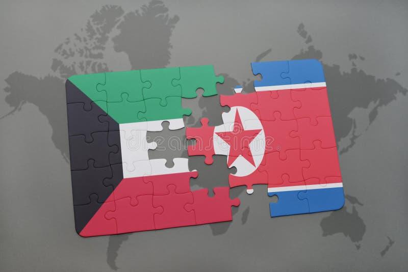 confunda com a bandeira nacional de kuwait e de Coreia do Norte em um fundo do mapa do mundo ilustração stock