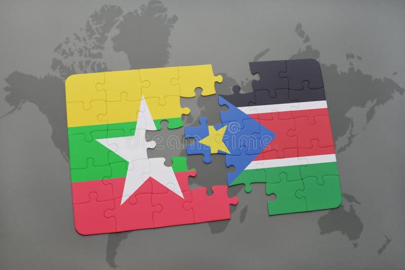 confunda com a bandeira nacional de myanmar e de Sudão sul em um mapa do mundo ilustração royalty free