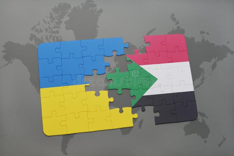 confunda com a bandeira nacional de Ucrânia e de Sudão em um mapa do mundo imagem de stock