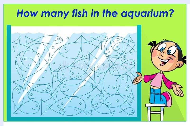 Confunda quantos peixes no aquário ilustração do vetor