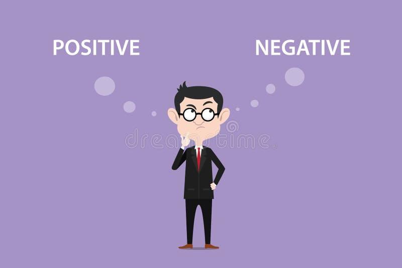 Confunda sobre a ilustração positiva dos efeitos negativos com um homem que veste o texto preto do terno e do monóculo e o branco ilustração do vetor