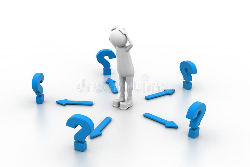 Confundido com as perguntas ilustração do vetor