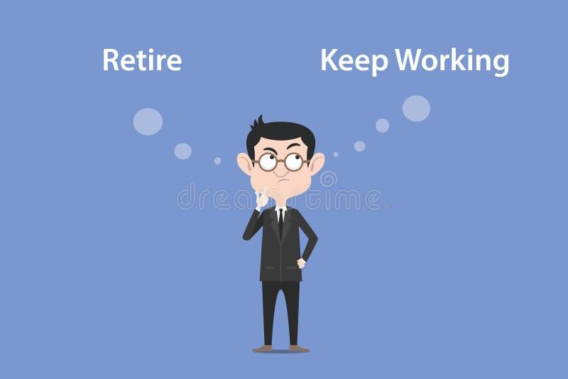 Confundir a tomar uma decisão para aposenta-se ou mantém-se trabalhar a ilustração com um texto branco da bolha ilustração stock