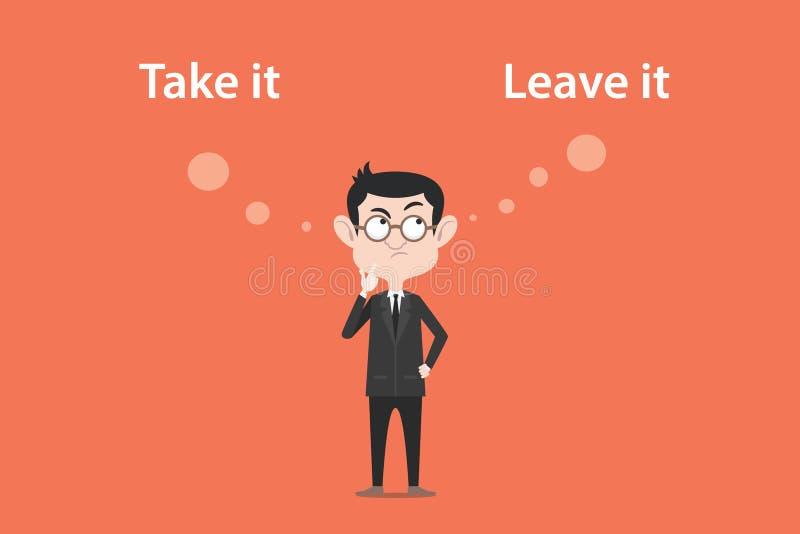 Confundir a tomar uma decisão tomá-lo ou deixar-lhe a ilustração com uma bolha branca text ilustração stock