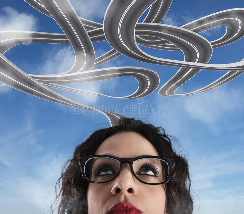 Confusão da maneira para uma mulher de negócios conceito da carreira difícil imagens de stock royalty free