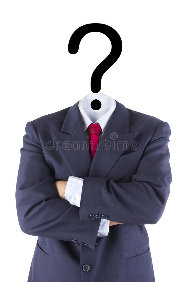 Confusão invisível do ponto de interrogação do homem de negócios fotografia de stock royalty free