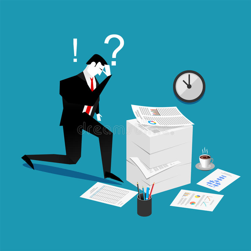 Confuse and busy businessman with a lot of work to do. Stress situation concept.  stock illustration
