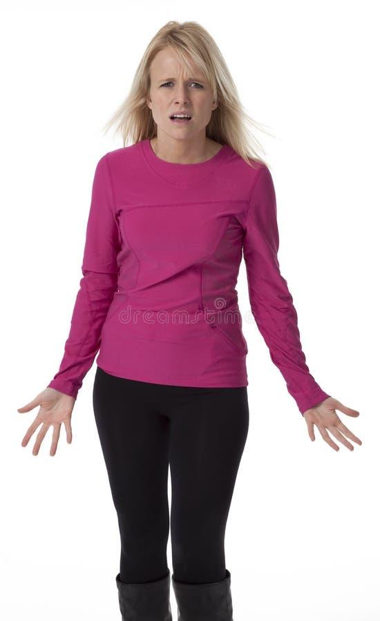 Confused женщина на белизне стоковая фотография