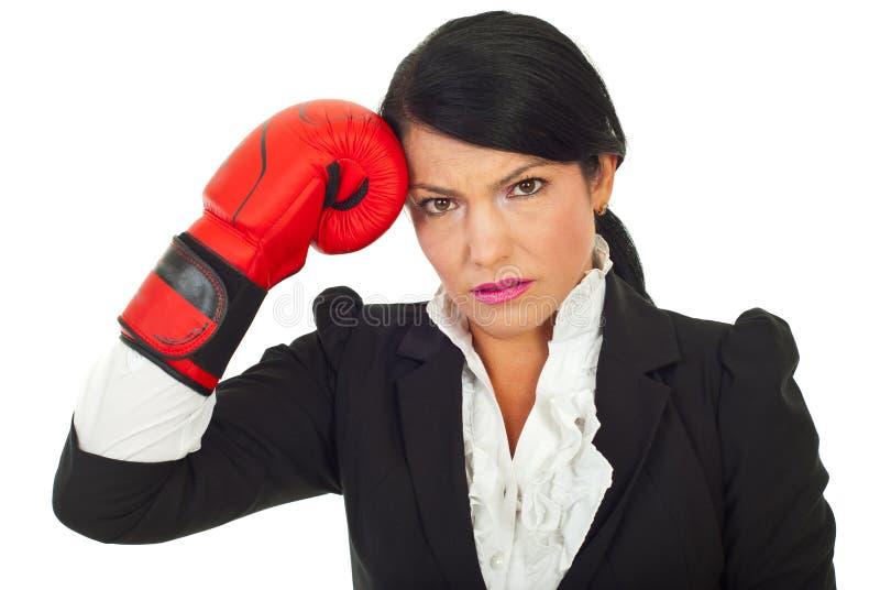 confused корпоративная женщина стоковая фотография rf