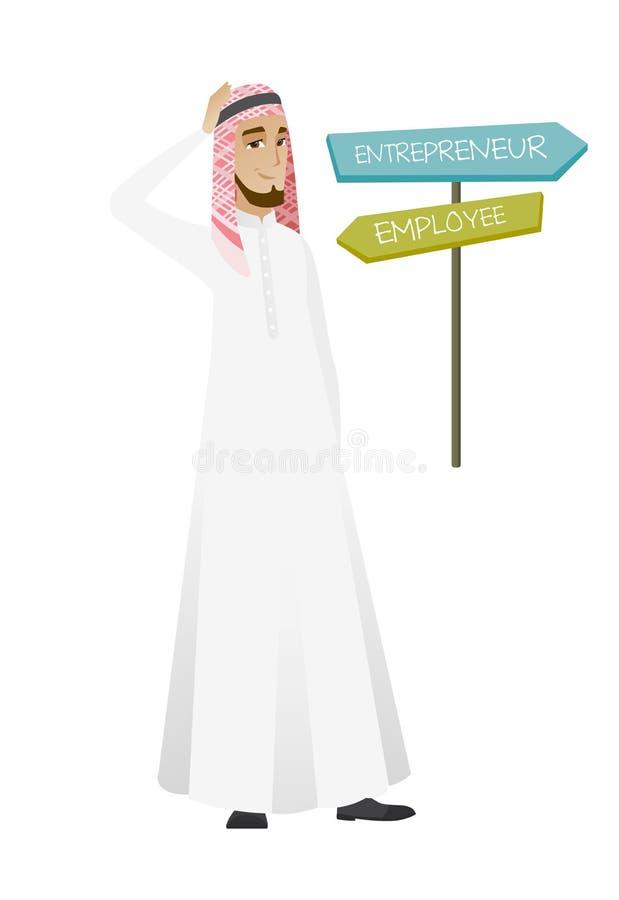 Confused мусульманский человек выбирая тропу карьеры иллюстрация штока