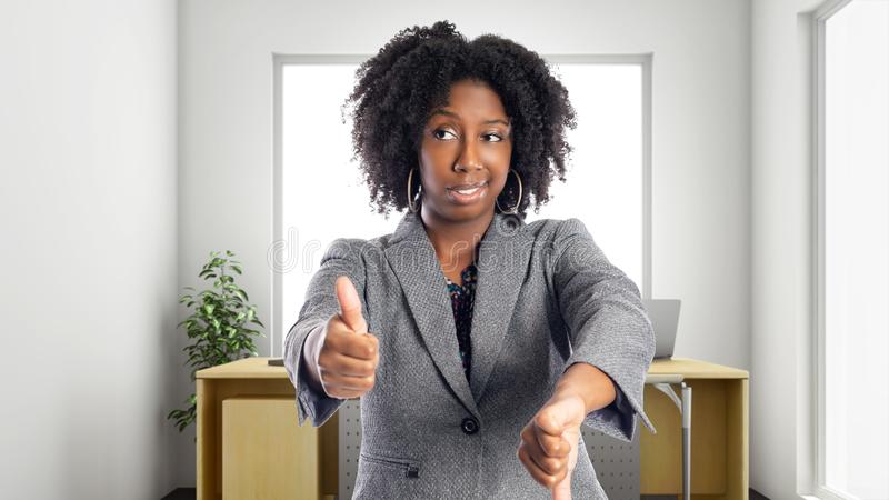 Confused African American Businesswoman In an Office stock photo