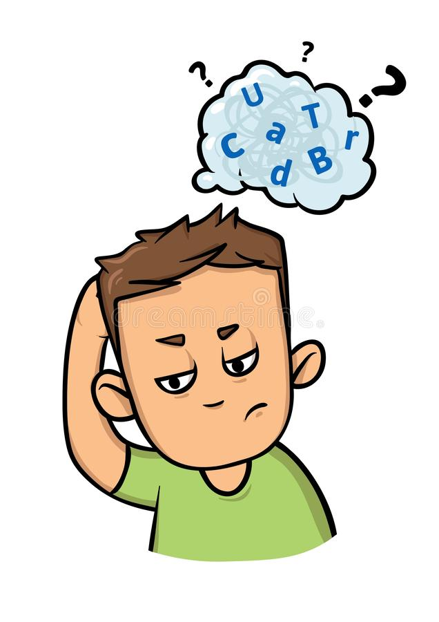 Confused boy with a cloud of mixed letters above his head. Dyslexia and adhd. Flat vector illustration. Isolated on. Confused guy with a cloud of scattered royalty free illustration