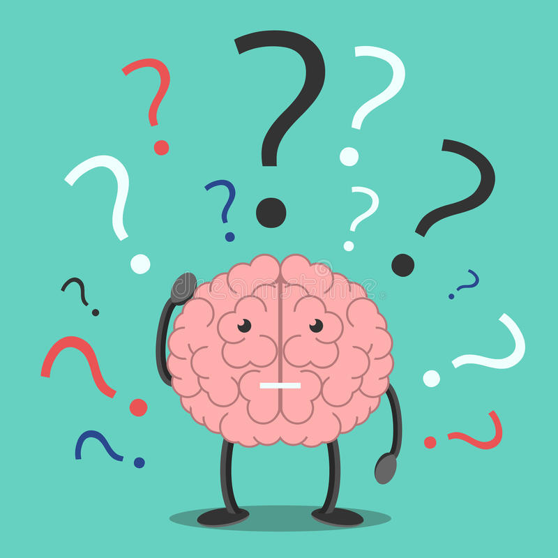 Confused brain character thinking. Confused brain character scratching head in bewilderment and many question marks. Confusion, trouble, memory, problem, task royalty free illustration