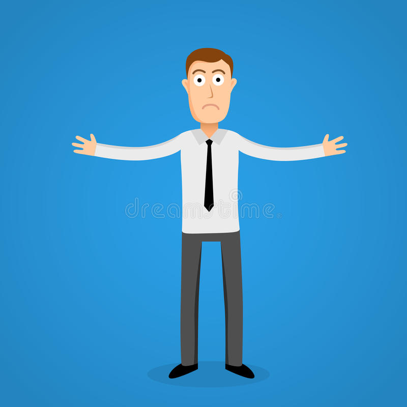 Confused business man. Cartoon person. royalty free illustration