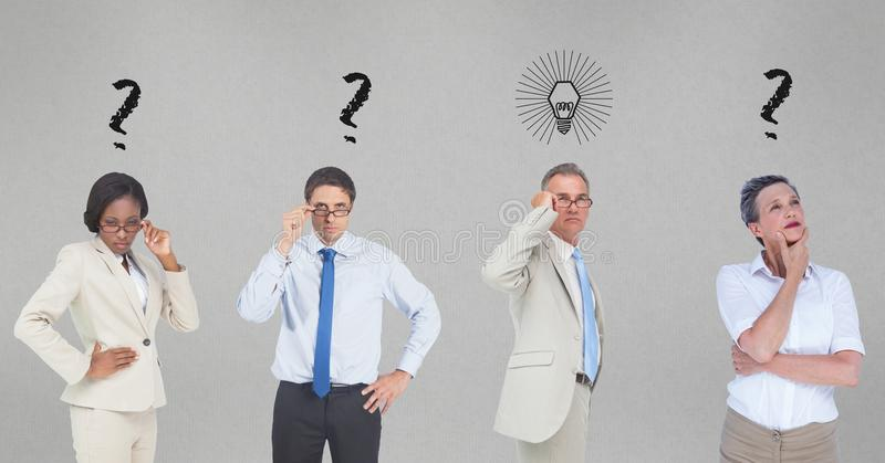 Confused business people with question marks and light bulb on gray background stock photo