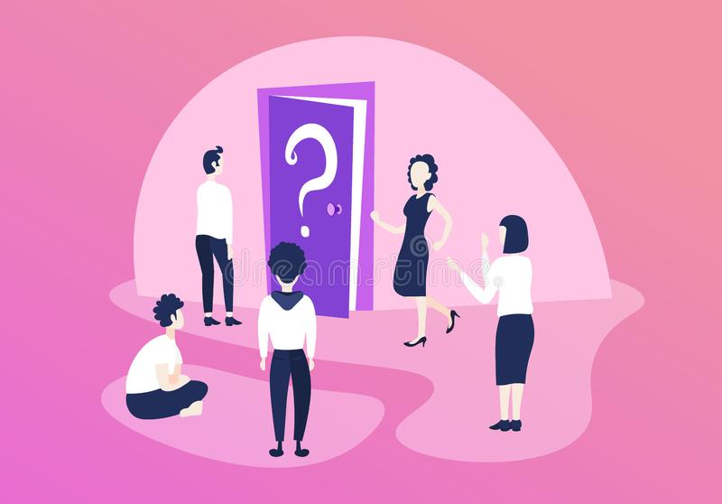 Confused business people team thinking door question mark what`s next direction concept teamwork problem solution stock illustration
