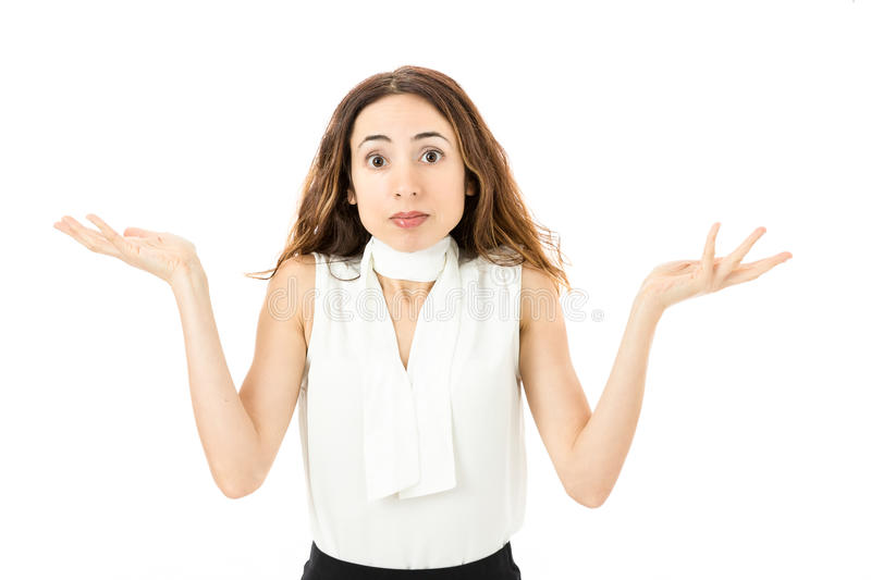Confused business woman stock photo
