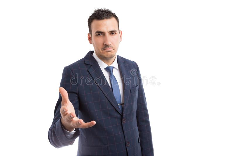 Confused businessman asking questions stock photos