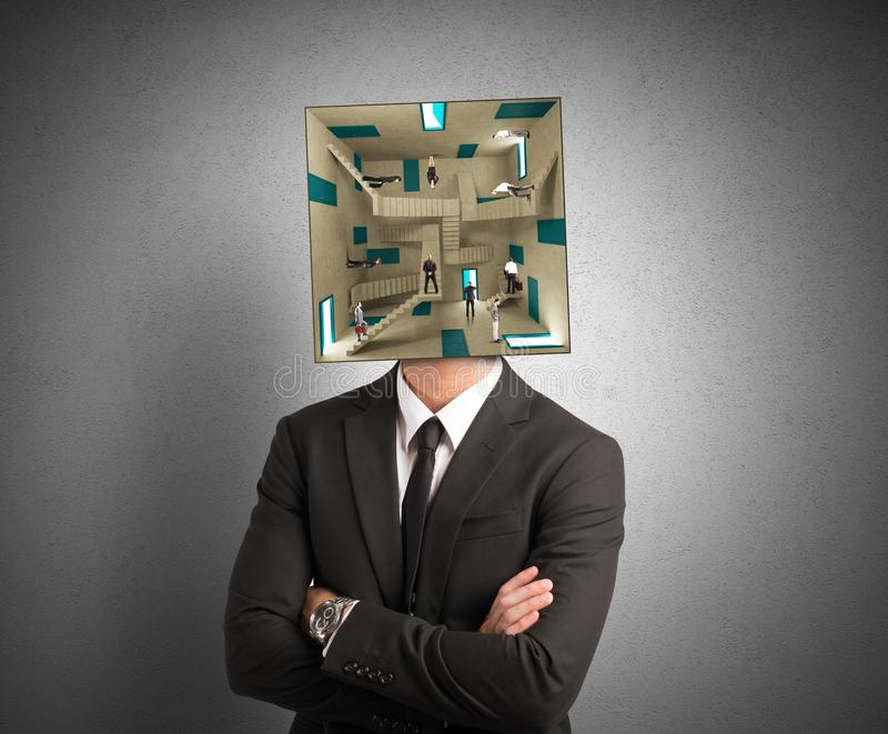 Confused businessman. Concept of confusion men with a complex room for a head stock photography
