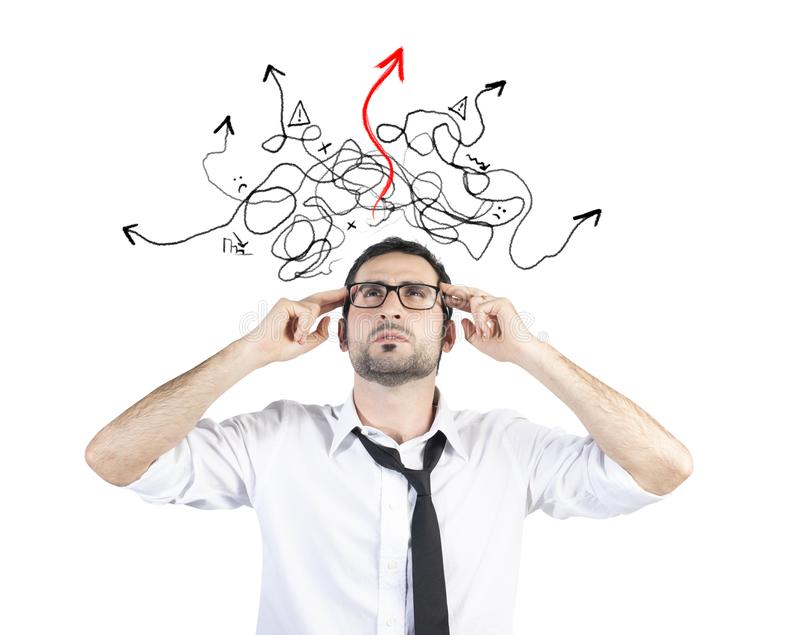 Confused businessman found the way of the solution stock images