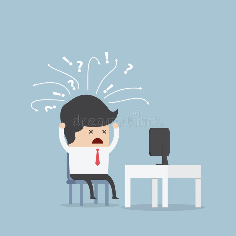 Confused businessman in front of computer vector illustration