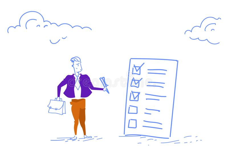 Confused businessman holding pen looking check list question mark think problem solution horizontal sketch doodle vector illustration