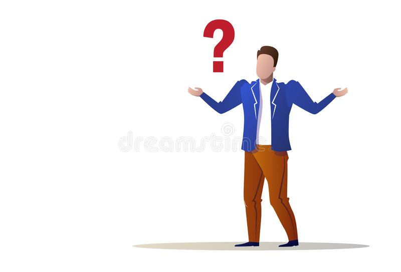 Confused businessman question mark concept trouble problem stress business man isolated flat full length horizontal vector illustration