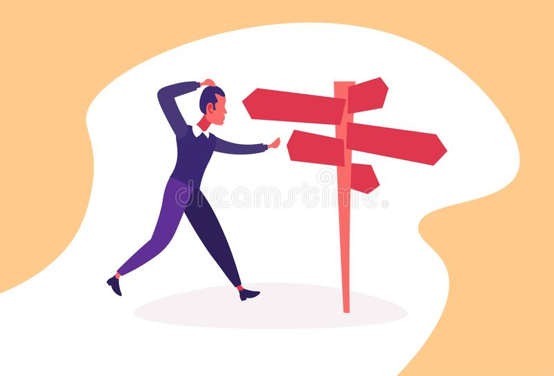 Confused businessman standing road sign choose business direction way signboard arrow horizontal cartoon character flat. Vector illustration vector illustration