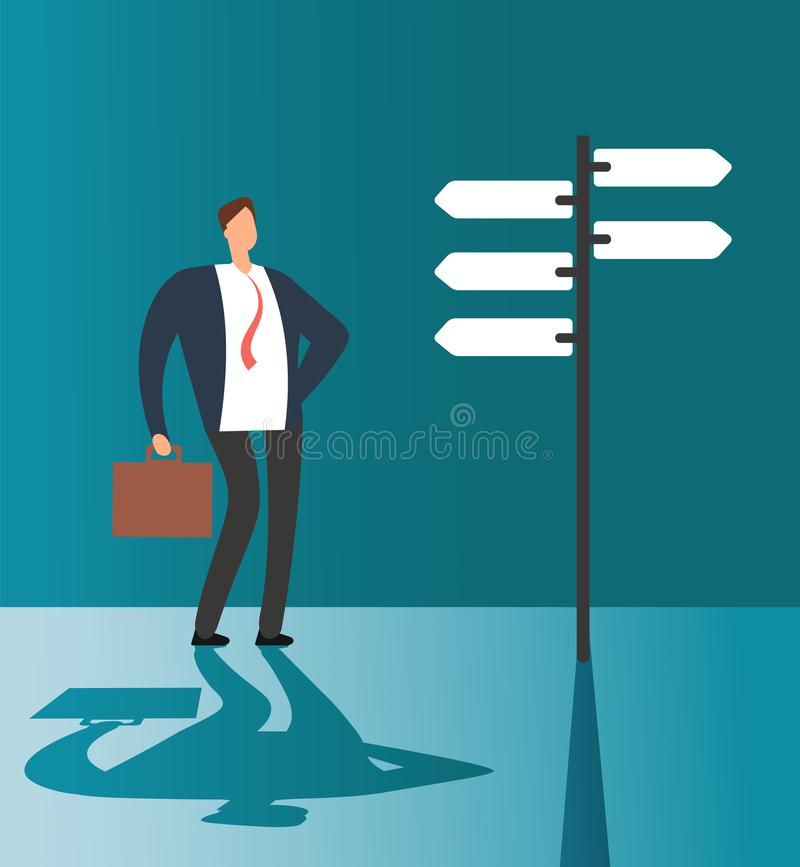 Confused businessman thinking and making choice at road sign. Business opportunity and future solution vector concept royalty free illustration