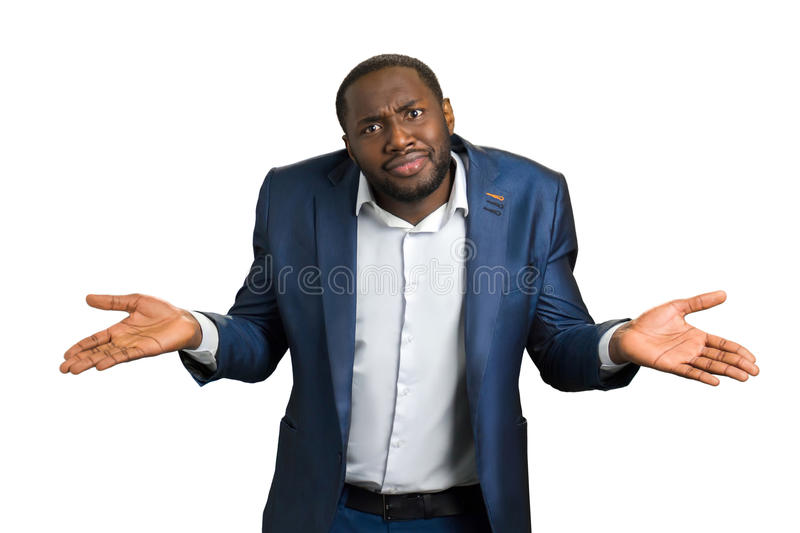 Confused businessman on white background. royalty free stock photography