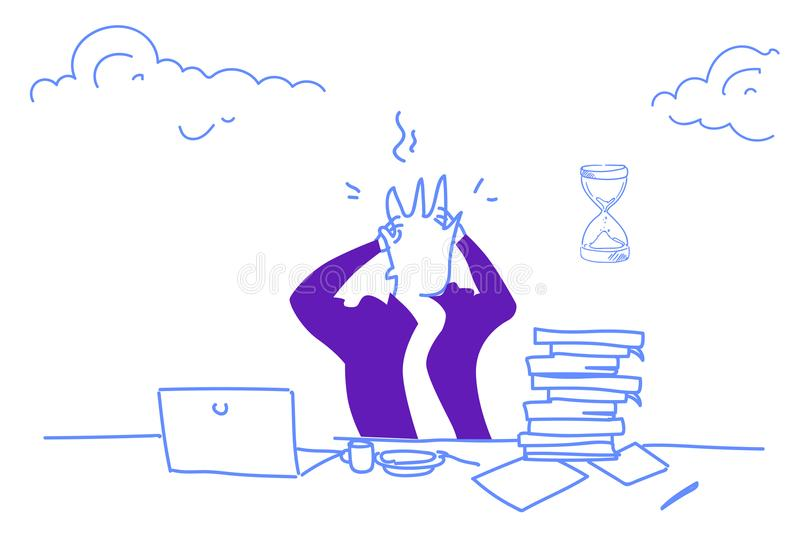 Confused businessman working problem stress concept man holding head deadline tired overworked male portrait horizontal royalty free illustration