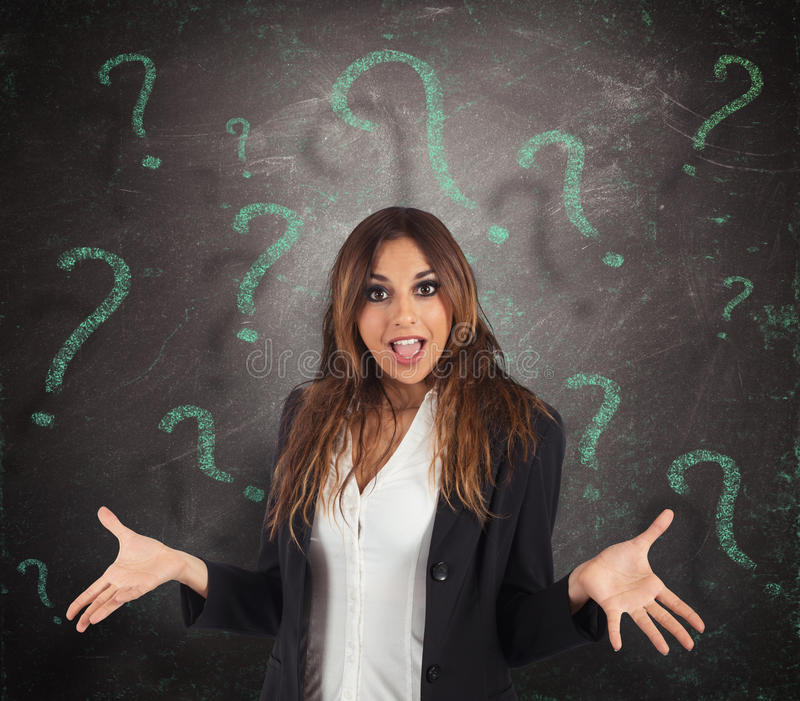 Confused businesswoman royalty free stock photos