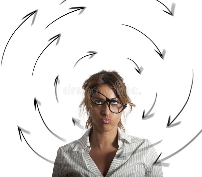 Confused businesswoman has dizziness. Concept of stress and overwork stock images