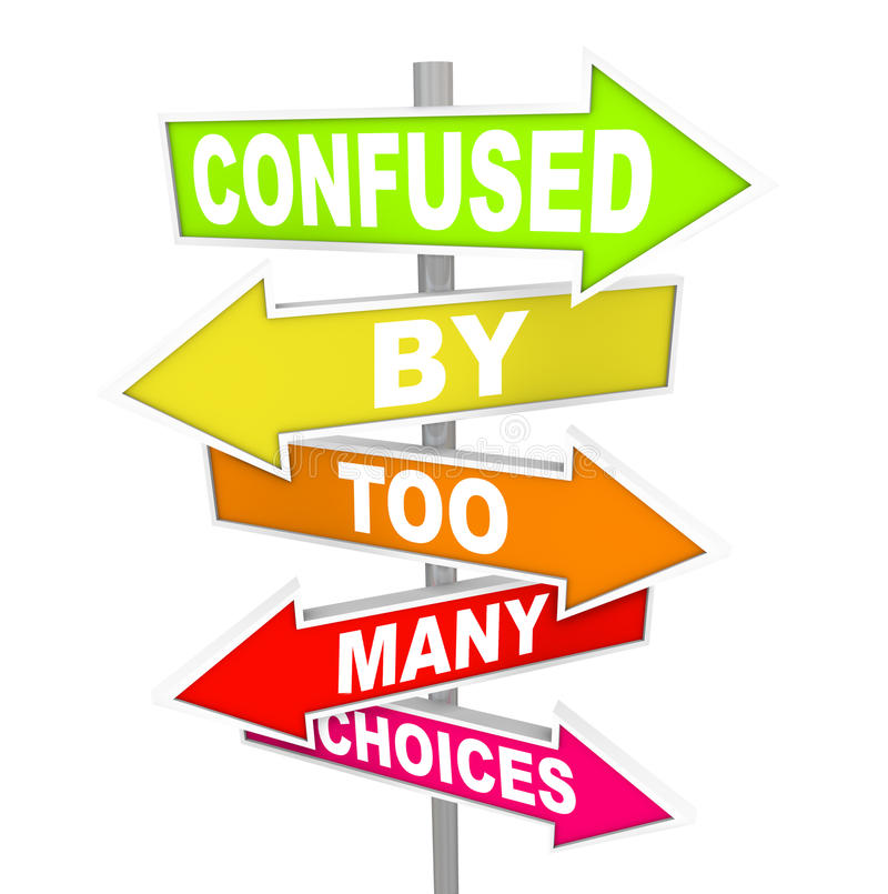 Free Confused By Too Many Choices Arrow Street Signs Stock Photography - 31864922