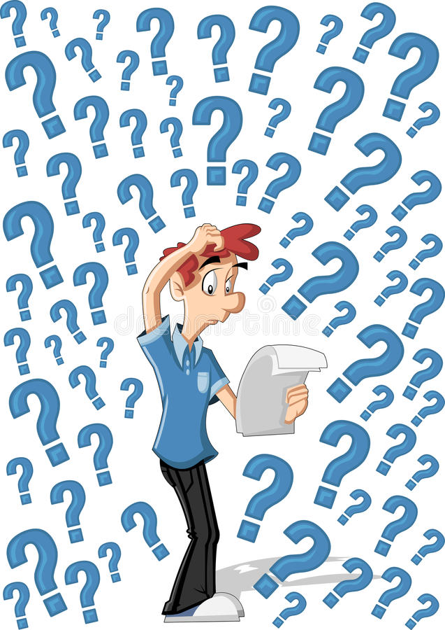 Confused cartoon man. Surrounded by question marks stock illustration