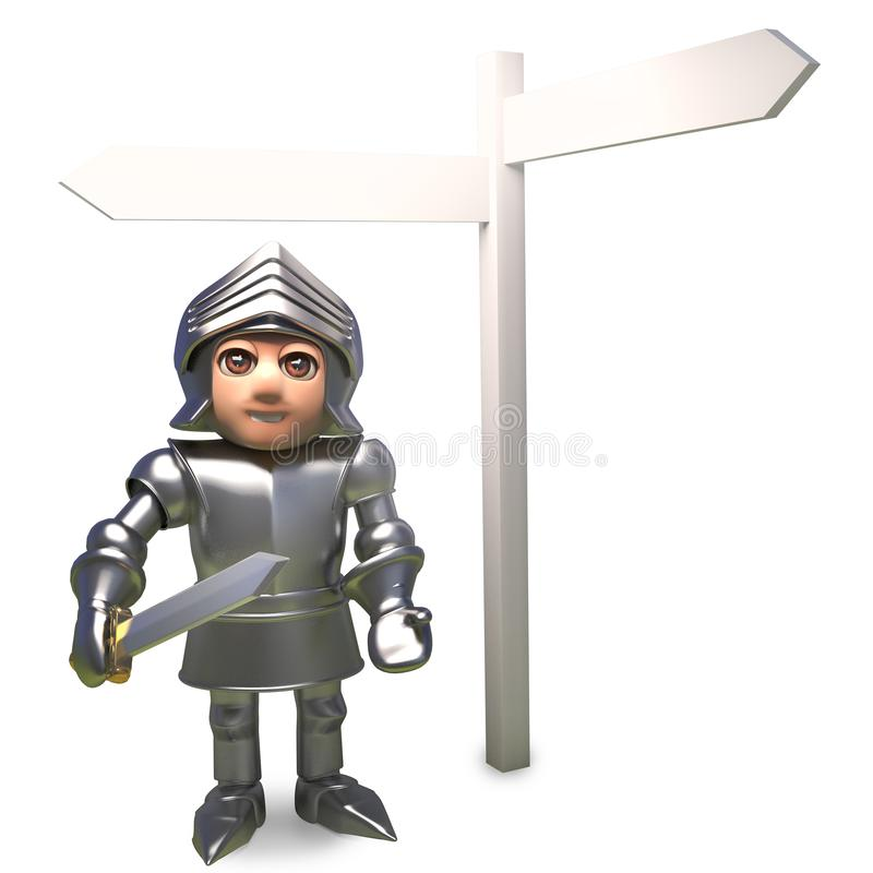 Confused cartoon medieval knight in armour looks at the blank signpost for directions, 3d illustration. Render stock illustration