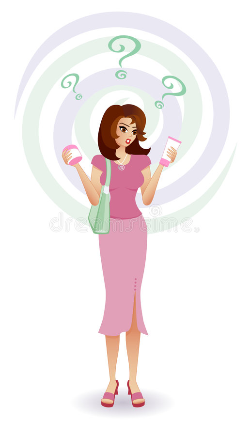Confused Consumer - Women's Cosmetics stock illustration