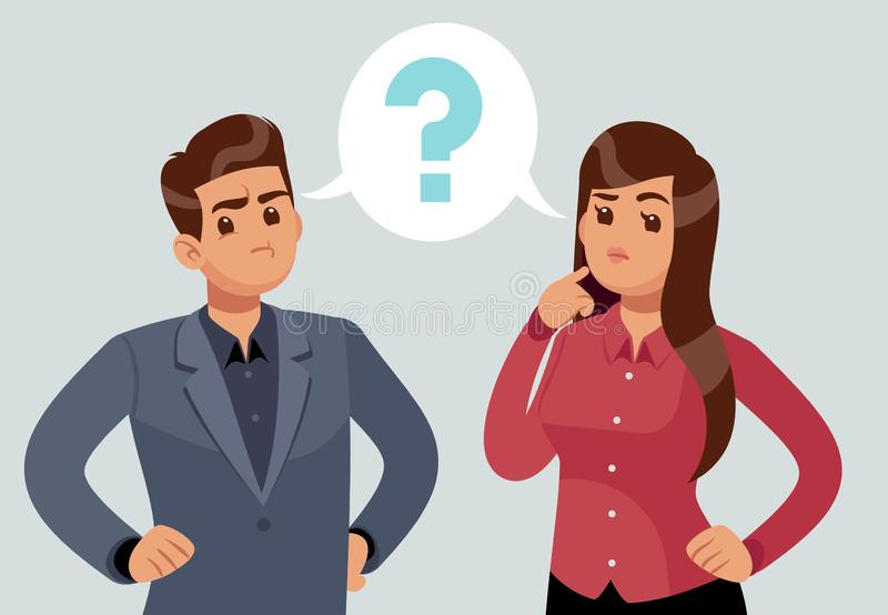 Confused couple. Thoughtful young girl and man. Troubled people thought with question mark. Thinking vector concept. Confused couple. Thoughtful young girl and vector illustration