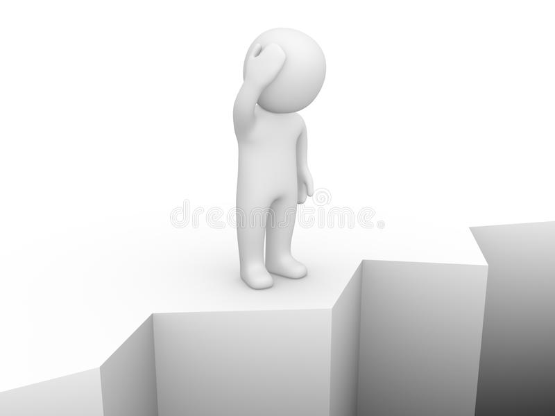 Confused 3d man standing on the brink of a precipice. vector illustration