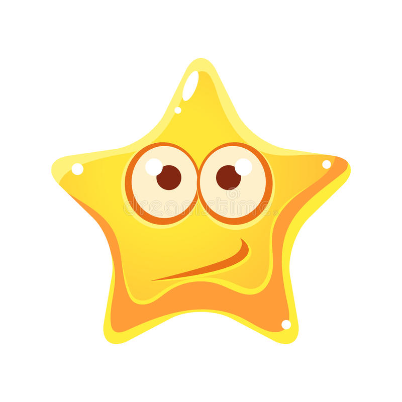 Confused emotional face of yellow star, cartoon character. On a white background royalty free illustration