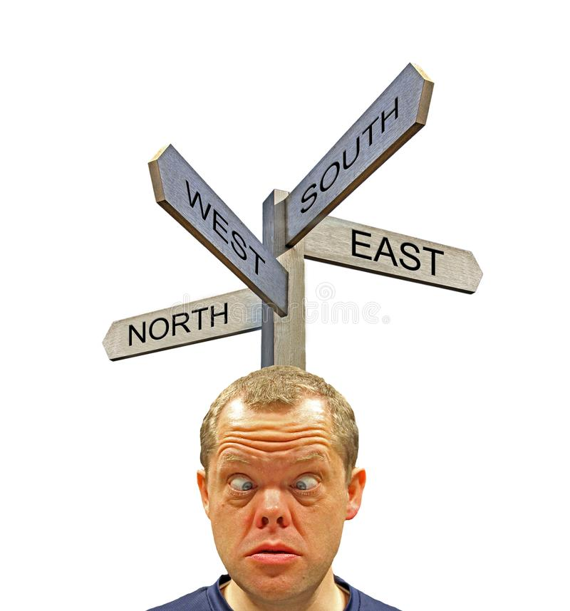 Confused frustrated traveller tourist unsure of direction to take royalty free stock photos